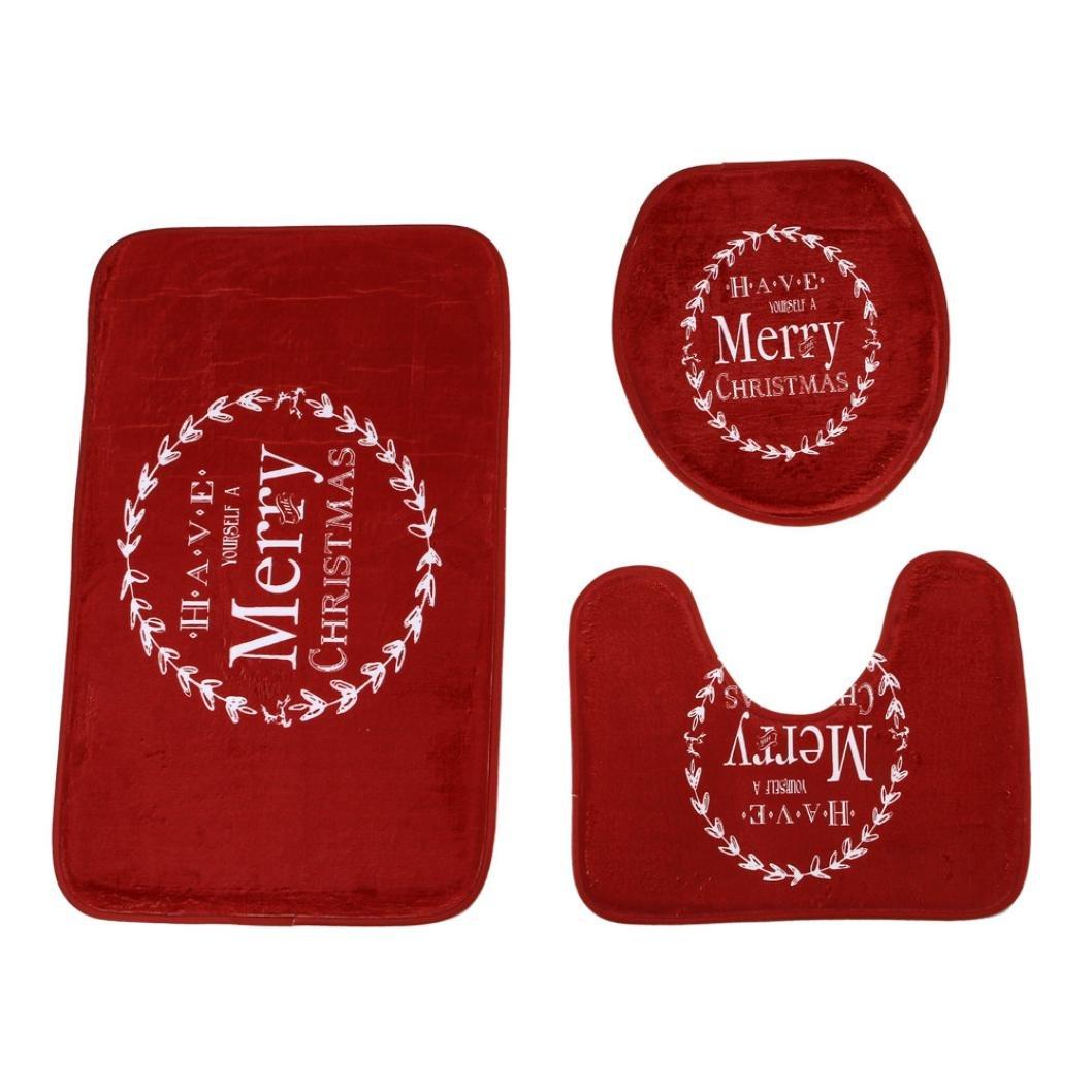 Euone Merry Christmas Pedestal Rug + Lid Toilet Cover + Bath Mat 3PC/Set Home Decoration (F)