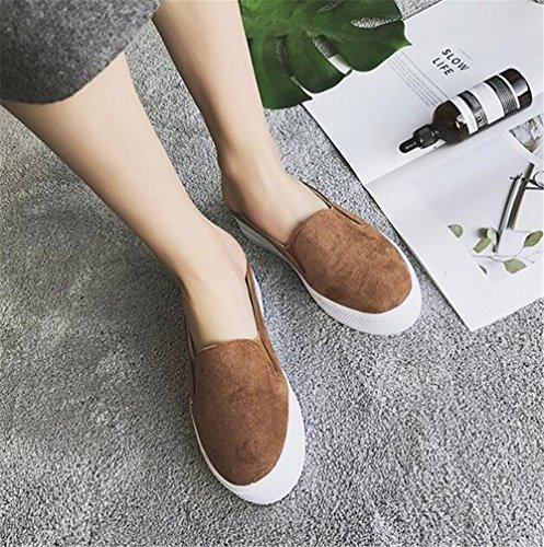 Cut Low Running Shoes Flat Shoes Walking Ladies Gusha Canvas Sneakers Brown Lace a4gxO