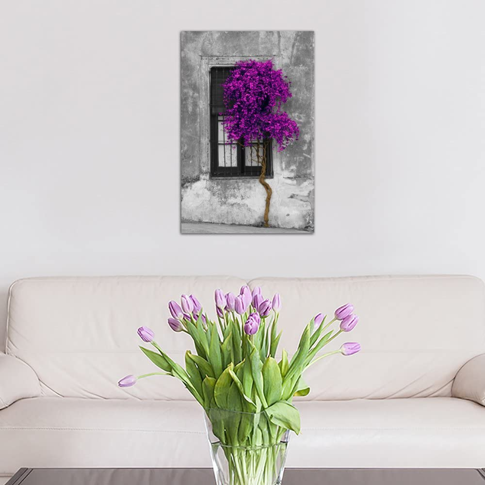 iCanvasART 1 Piece Tree in Front of Window Purple Pop Color Pop Canvas Print by Panoramic Images 26 x 18//0.75 Deep