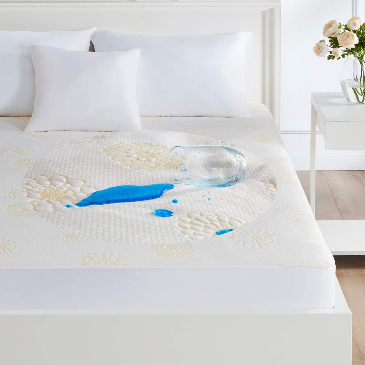 Queen Size Bed Waterproof Mattress Protector Pad,Cooling Bamboo Bed Mattress Pad Covers Hypoallergenic Dust Mite