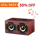 Portable Wireless Bluetooth Speaker : 10-Hour Playtime, 10W Wood Home Speakers with Mic & TIFF Card Slot, Extra Bass Stereo, Retro Handicraft for Laptop, Computer, Home, Office, Party (Rose Red)