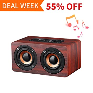 wireless office speakers. Portable Wireless Bluetooth Speaker : 10-Hour Playtime, 10W Wood Home Speakers With Mic Office