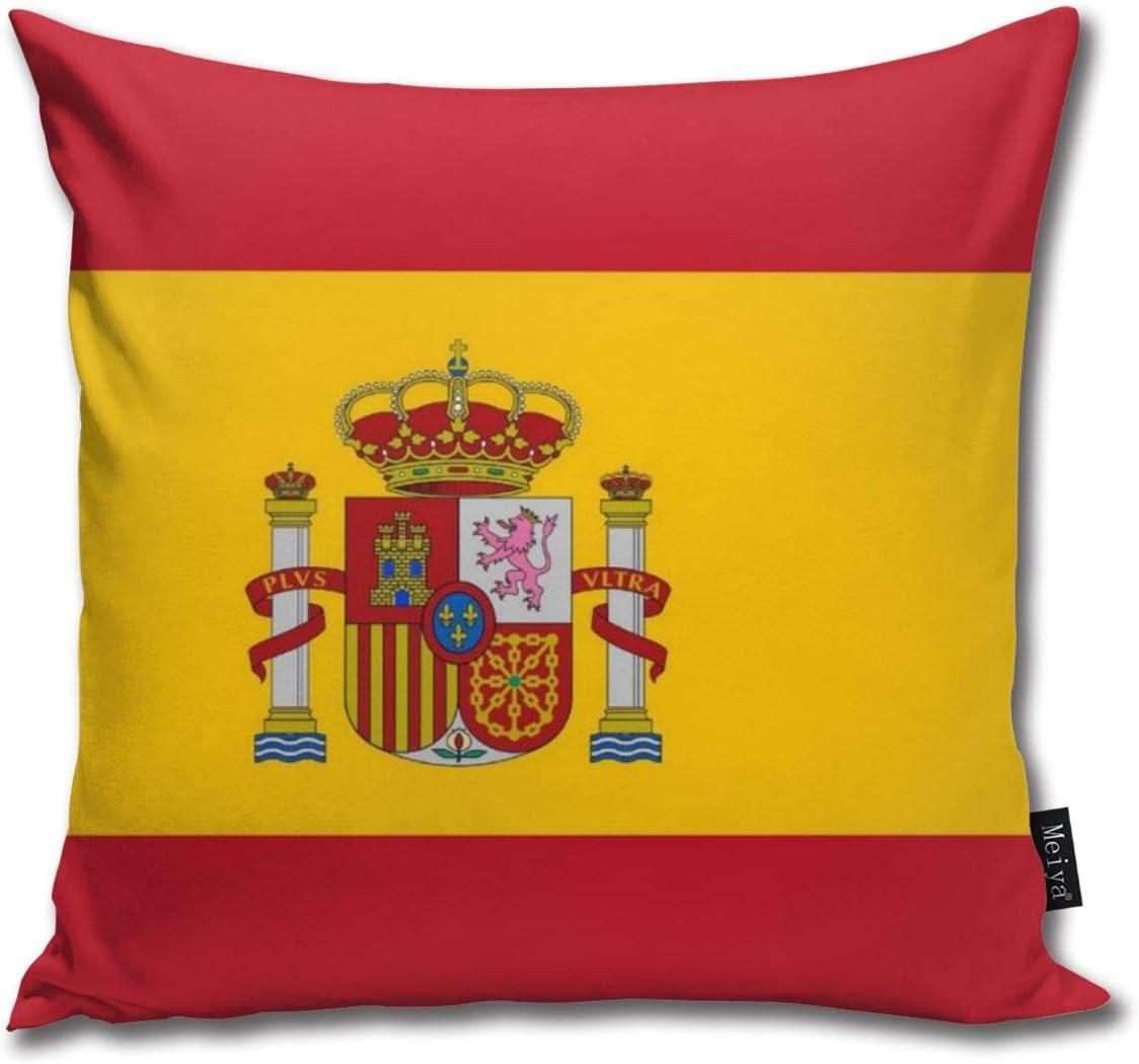 Rasyko - Funda de cojín decorativa, diseño de bandera de España para regalo, sofá, cama, coche, 45,7 x 45,7 cm