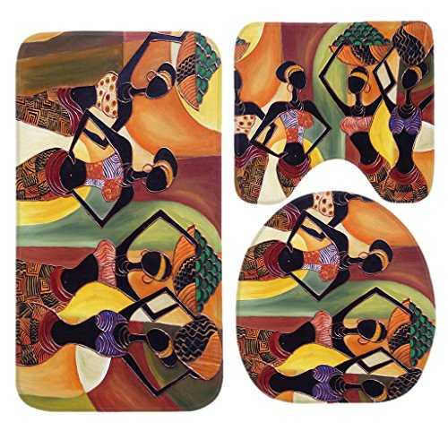 SSOIU 3 Piece Bath Mat Set Oil Painting Art African Ladies Non-Slip Bathroom Mats Contour Toilet Cover Rug