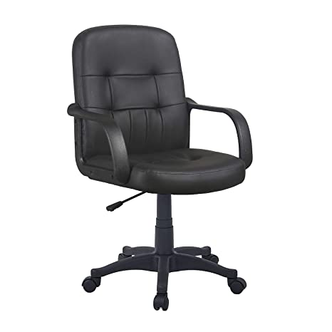 Sensational Gizza Modern Mid Back Support Office Chair Black Grey Faux Leather High Adjustable For Computer Desk Workstation Black Model 1 Gmtry Best Dining Table And Chair Ideas Images Gmtryco