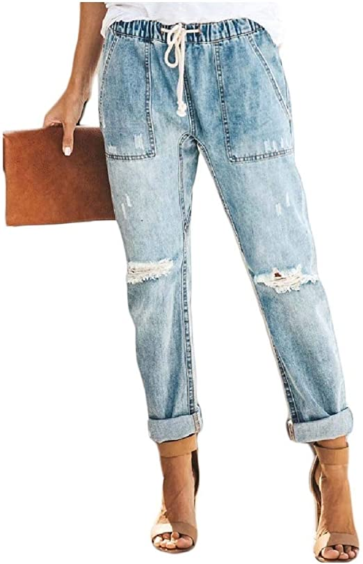sayahe Women's Causal Skinny Straight Ripped-Holes High-rise Jeans Pants