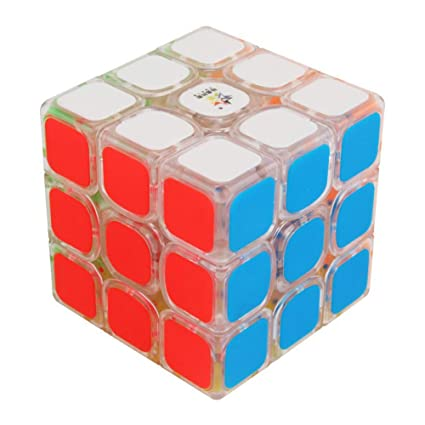 Rabusion 3x3 Frosted Surface Sticker Magic Cube for Begainer Transparent