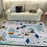 MAXYOYO Play Mat for Baby Grey Area Rug Foam Play Mat Living Room Floor Mats Baby Crawling Mats Climbing Pad Nursery Rug Carpet, Village, 59 by 79 Inches