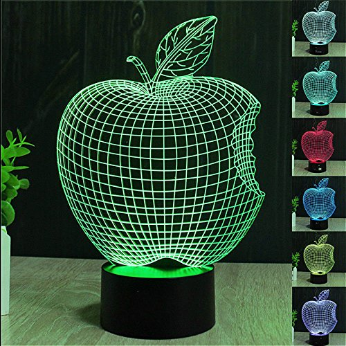 Apple Night Light (SUPERNIUDB 3D Apple Night Light 7 Color Change LED Table Lamp Xmas Toy)