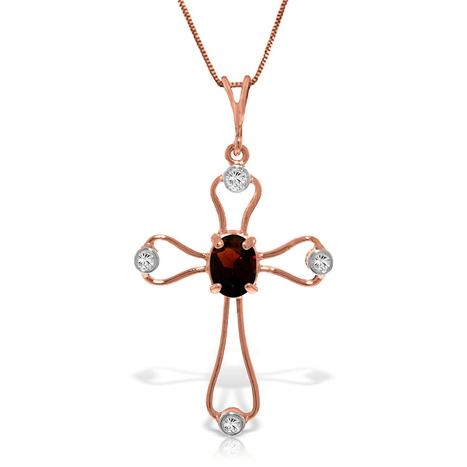 ALARRI 14K Solid Rose Gold Cross Necklace w/ Natural Diamonds & Garnet with 22 Inch Chain Length
