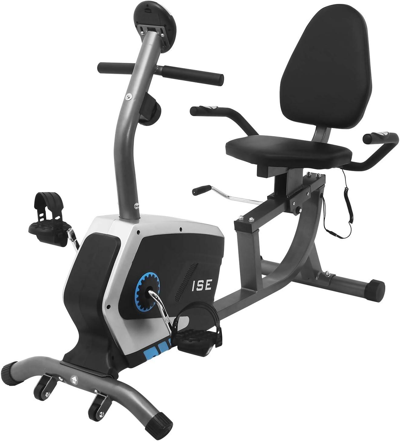 ISE Bicicleta Estática de Spinning Ejercicio Gimnasio con 8 Niveles de Resistencia, Sensor de Pulso, Bicicleta Elíptica de Fitness con Respaldo, Pantalla, Sillín Ajustable