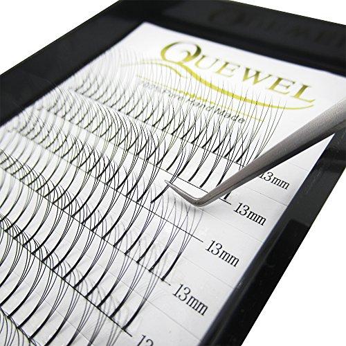 Quewel Lash Russian Volume Eyelash Extensions 3D 5D C D Curl 8-15mm Long Thickness 0.07/0.10 mm Premade Fans Volume Eyelashes Soft (3D-0.10-D, 13mm)