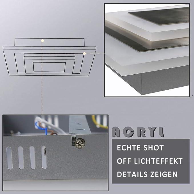 chambre /à coucher cuisine ZMH LED Plafonnier Salon Dimmable stepless avec t/él/écommande /Ø30cm ronde Plafonnier 20W Plafonniers de bureau pour salon nickel mat