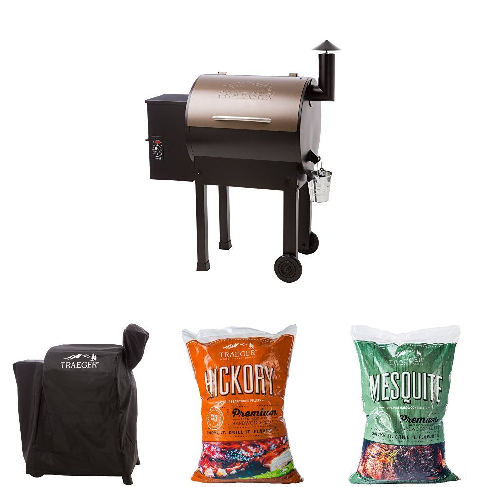 Traeger Lil Tex Elite 22 Grill and Smoker with Cover, 20lbs Hickory Pellets and 20lbs Mesquite Pellets