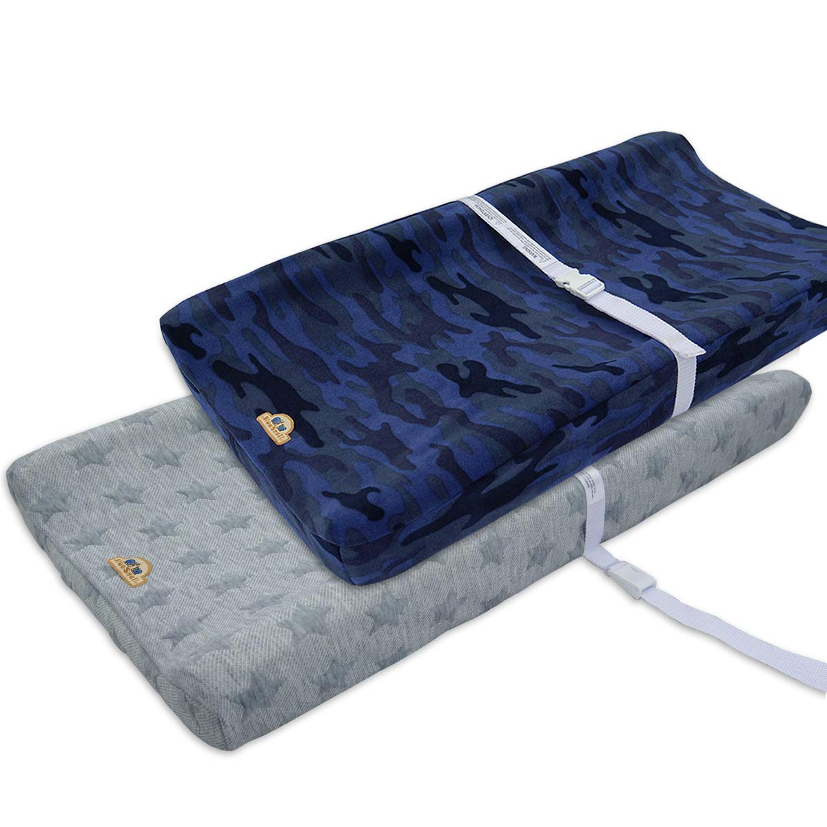 BlueSnail Plush Super Soft and Comfy Changing Pad Cover for Baby 2-Pack (Grey)