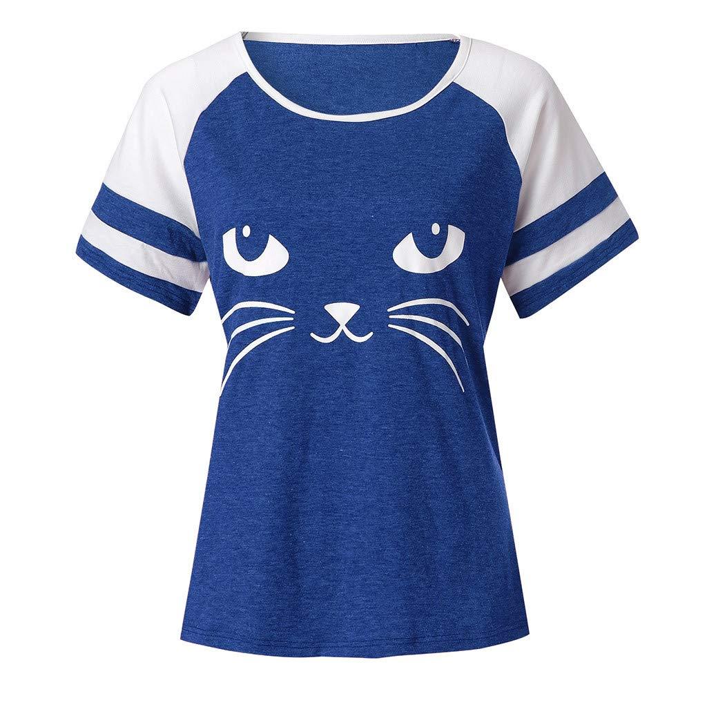 Womens Summer Cute Cat Print Tops Short Sleeve T-Shirts Blouse FEITONG Blouses for Women