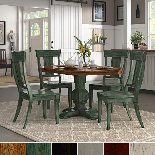 iNSPIRE Q Eleanor Sage Green Extending Oval Wood Table Panel Back 5-piece Dining Set by Classic Red Oak Finish, Red Finish, Green Finish (Extending Dining Set Table)
