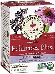 Traditional Medicinals Organic Echinacea Plus Elderberry Tea, 16 Tea Bags (Pack of 6)