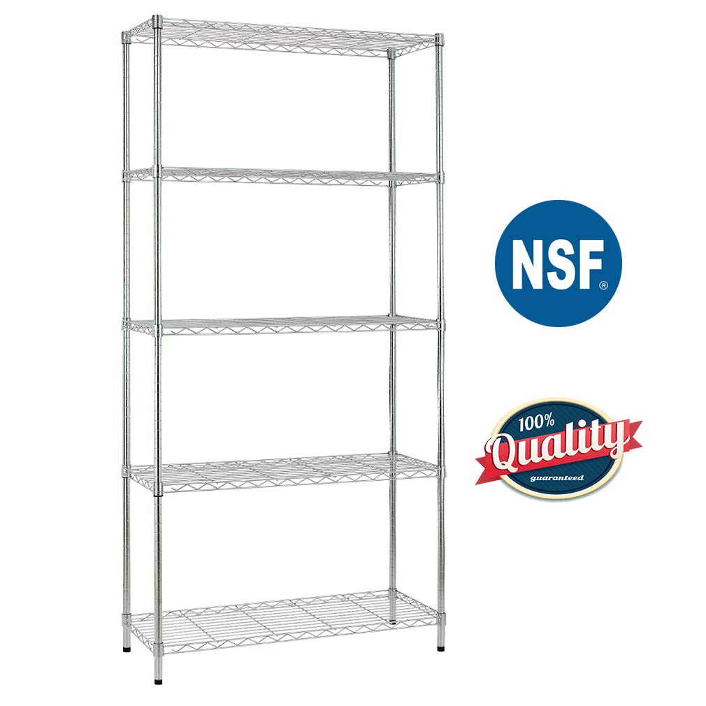 Bestoffice 5 Shelf Wire Shelving Unit Garage NSF Wire Shelf Metal Large Storage Shelves Heavy Duty Height Adjustable Commercial Grade with 1250 LBS Capacity -14x36x72 Chrome