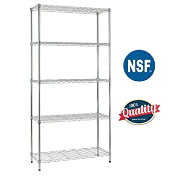 Bestoffice 5 Shelf Wire Shelving Unit Garage NSF Wire Shelf Metal Large Storage Shelves Heavy Duty