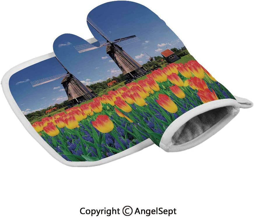Tulip Blooms with Classic Dutch Windmill Netherlands Countryside Spring Picture,Insulated Gloves+Insulated Square Mat,Yellow Blue,Baking Premium Insulated Durable Mitts