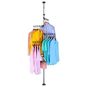 BAOYOUNI 4-Tier Standing Clothes Laundry Drying Rack Coat Hanger Organizer Floor to Ceiling Adjustable Metal Corner Tension Pole, Grey