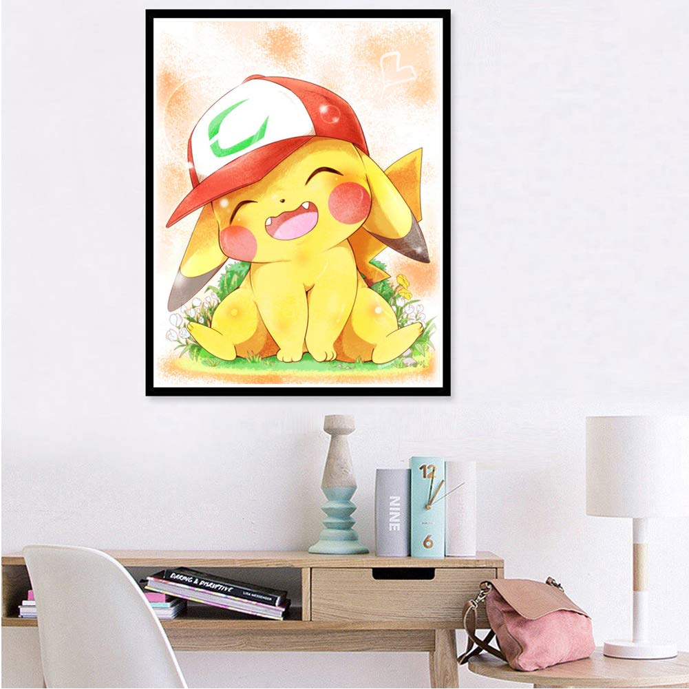 5D DIY Full Drill Diamond Painting Kit, Rhinestone Painting Kits for Adults and Children Embroidery Arts Craft Home Decor Pikachu Series (Cute Pikachu, 30x40cm)