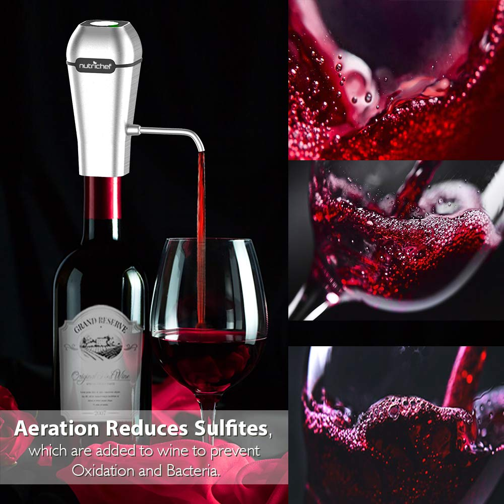 NutriChef Stainless Steel Electric Wine Aerator - Rechargeable Battery Pocket and Travel Bottle Tap Aerating Dispenser Pump Set and Accessories   Red/White Wine -PSLWPMP250, One Size by NutriChef (Image #6)