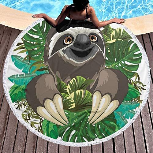 Banana Fish Jungle Gym - GULTMEE Round Beach Towel Beach Blanket,Cartoon Mammal On Tropical Jungle with Green Banana Leaves Cute Character,Large Multi-Purpose Towel Beach Mat 59