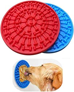 Minli 2pcs Dog Lick Pad, Absorbable Slow Feeders, Distraction Device ,Powerful Suction cups on the back,Training-Just Add Peanut Butter(Red &Blue)