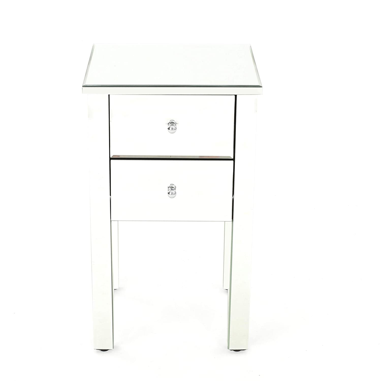 GDF Studio 301745 Seranade Mirror Finished 2 Drawer Side Table, Natural Clear