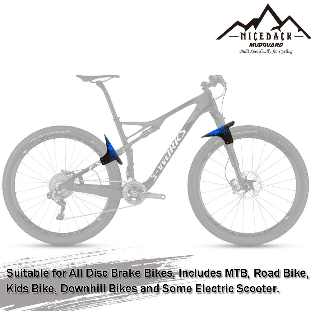 NICEDACK MTB Mudguards for Bikes Enduro Mountain Bike Mud Guards Set Front or Rear Compatible Fender Fits 16 20 24 26 27 27.5 28 29 inch Wheel Downhill Bicycle and Fat Bike