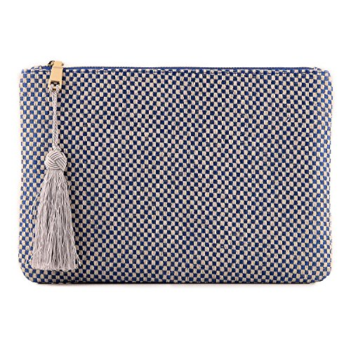 Otto Designer Women's Knitted Clutch w/ Fringe Tassel - Small Credit Card Holder and Coin Purse - Ultra-Slim, Lightweight Pocket - Zippered Closure (Blue Checkerboard Stitch) by OTTO Leather