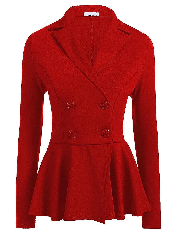 1dfb5b240327f SEBOWEL Women Double Breasted Ruffle Peplum Slim Work Office Blazer Jacket  Suits at Amazon Women s Clothing store