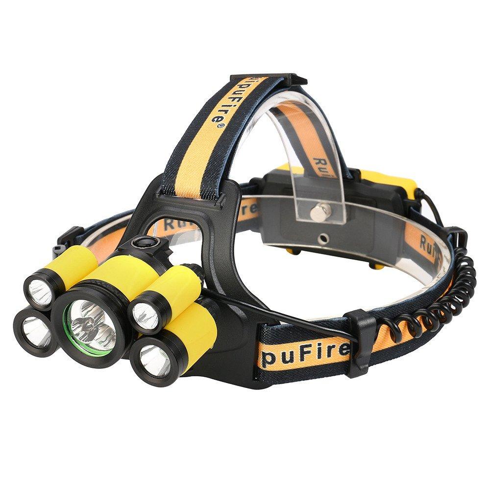35000 LM 5 modes Headlamp Rechargeable Headlamp Travel Headlight (Yellow)