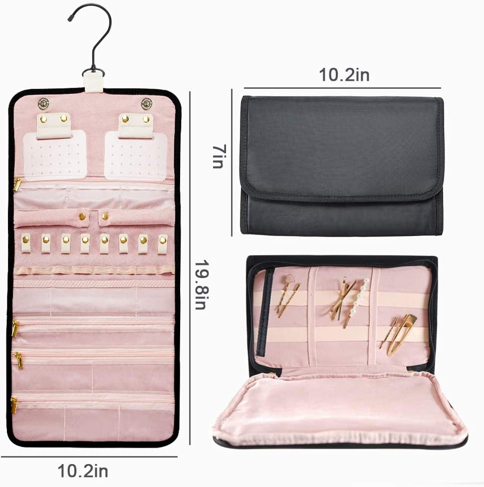 Black B Shine Jewelry Rolls Necklaces Foldable Jewelry Bag Case For Travel Hanging Jewelry Organizers For Rings Earrings Storage Bracelets Jewelry Rolls