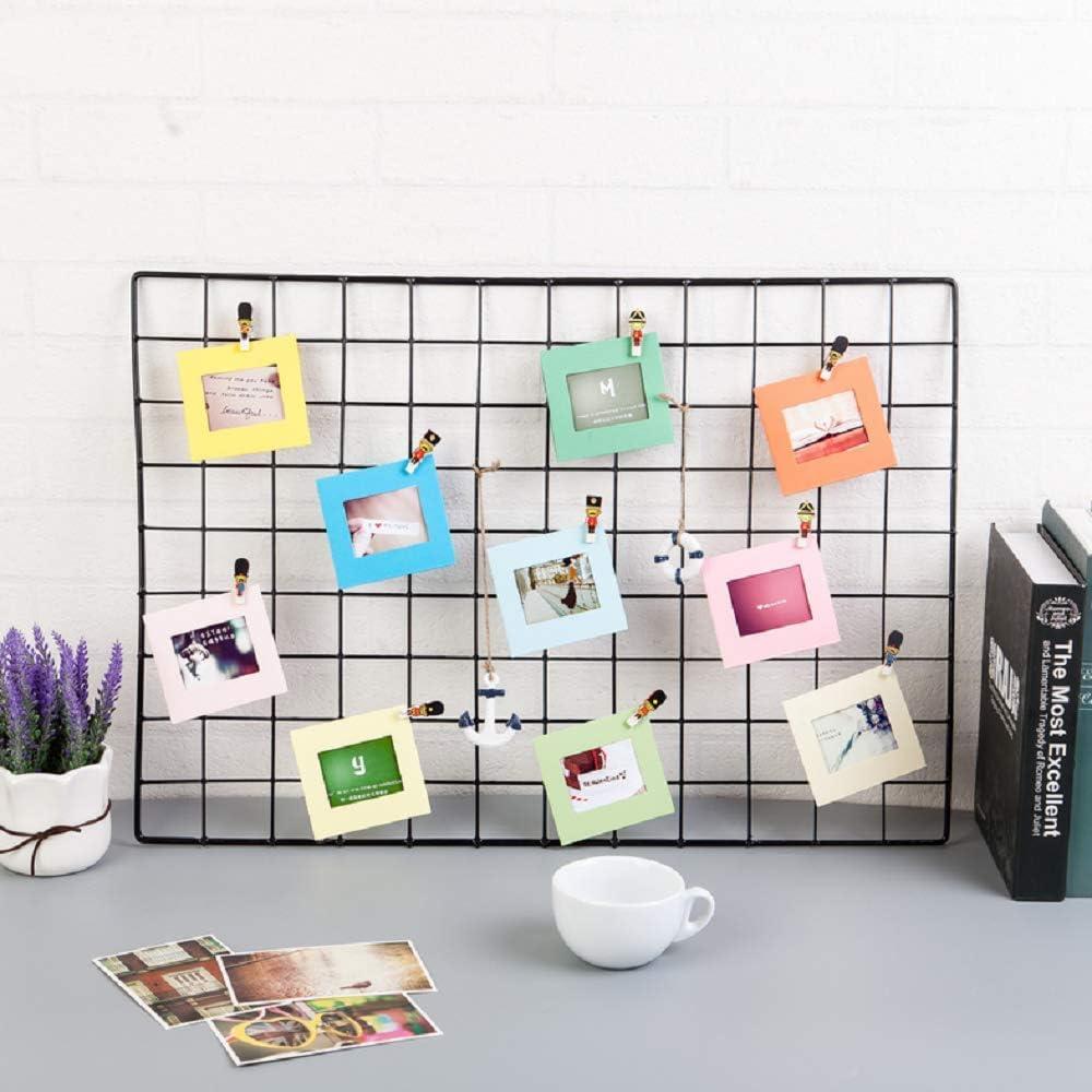 byou Cadre Photo Papier Kit de D/écoration Murale avec Cadres Photos avec 20 pi/èces Multicolore Mini Clips en Bois et 2 pi/èces Twines 42 Pi/èces