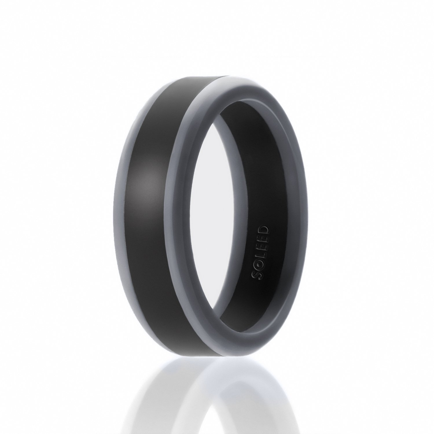 SOLEED Silicone Wedding Ring for Men (Power X Series) Safe and Sturdy Silicone Rubber Wedding Band Middle Wide Stripe with Black Beveled Edges - Metallic, Silver, Platinum, Grey, Blue, Red