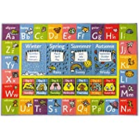 KC CUBS Playtime Collection ABC Alphabet, Seasons, Months and Days of The Week Educational Learning Area Rug Carpet for Kids and Children Bedrooms and Playroom