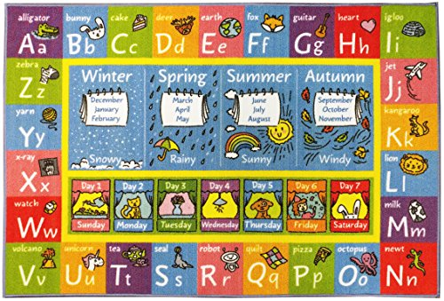 Learning Animals Abc Carpets - KC CUBS Playtime Collection ABC Alphabet, Seasons, Months and Days of the Week Educational Learning Area Rug Carpet For Kids and Children Bedrooms and Playroom (3' 3