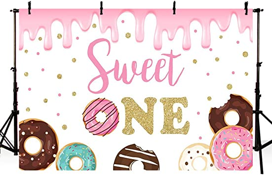 YongFoto 10x7ft Colorful Donut Girl Baby Shower Backdrop Sweet Pink Scene Birthday Photography Background Newborn Party Theme Cake Table Banner Portrait Photo Studio Wall Vinyl Poster