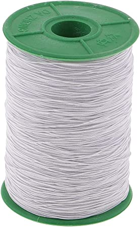 PandaHall 50m Roll Corda elastica piatta 2.5~3mm Corda per orecchino bianca Corda per orecchino per cucito
