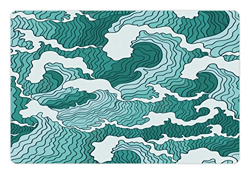 Lunarable Japanese Pet Mat for Food and Water, Far Eastern Pattern Hand Drawn Style Wavy Lines with Nautical Inspirations, Rectangle Non-Slip Rubber Mat for Dogs and Cats, Turquouse and - Rug Inspirations Lines Multi