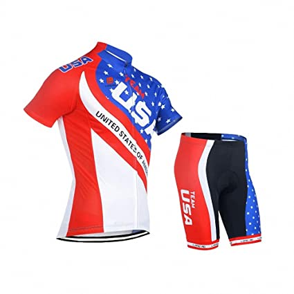 41c3c0208dece Amazon.com : Women's Cycling Jersey, American Flag Short Sleeve Quick-Dry  Breathable Biking Shirt with Bib Shorts Cycling Clothing Apparel Suit :  Sports & ...