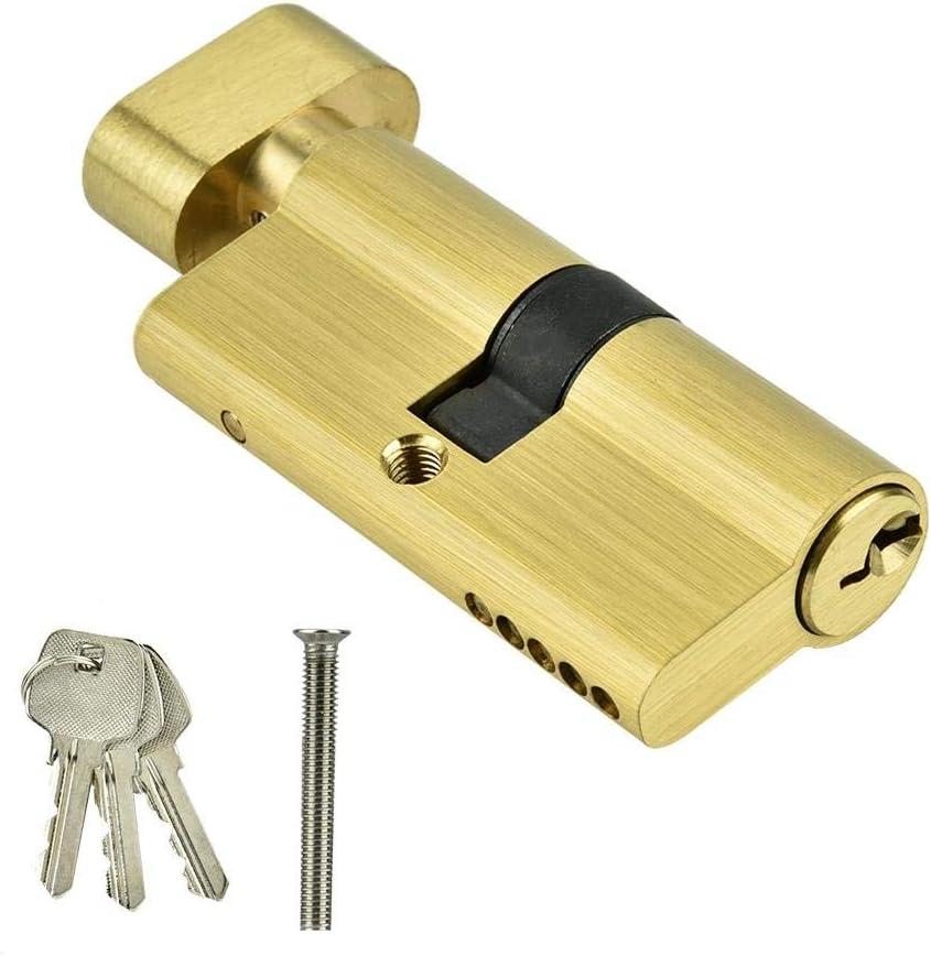 Door Lock Cylinder with Keys 65mm Copper Single Open Lock Cylinder Door Cylinder Security Copper Lock Interior Bedroom Living Room