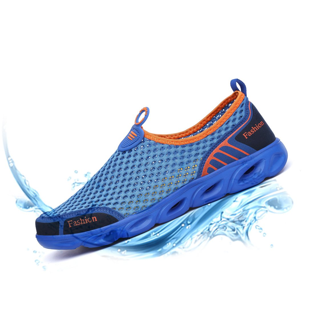 Ceyue Mens Waters Shoes Athletic Lightweight Quik Drying Slip-on Aqua Shoes for Women Wide Foot Big Feet (Blue,42)
