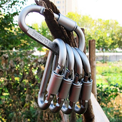 Your Supermart 5pc Multifunction Aluminum Hiking Camping Hook Carabiner Clip W/Lock Ring Keychain Clip Spring Snap Key Chain Clip Hook Screw Gate Buckle