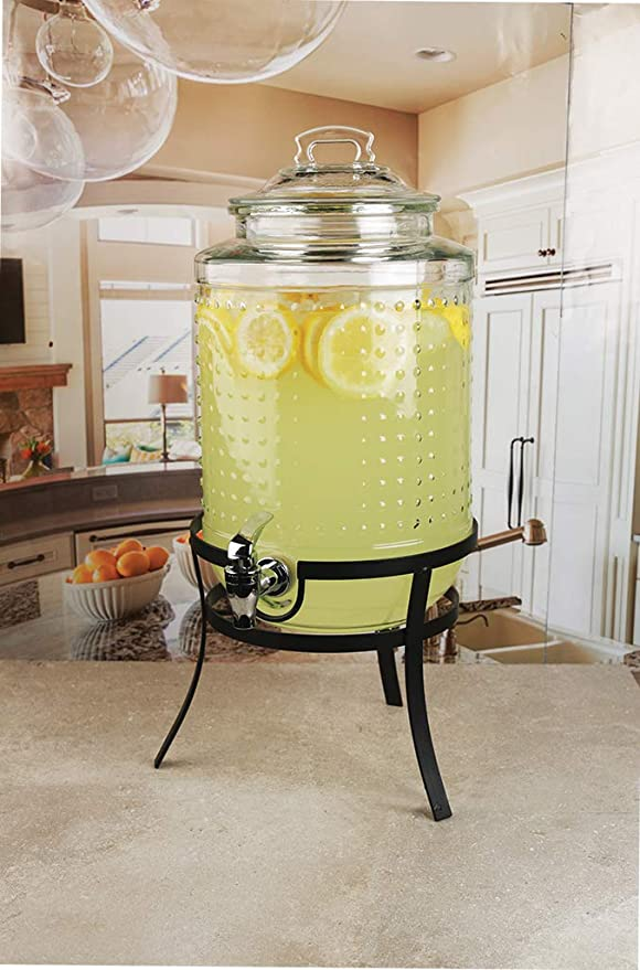 Amazon.com   Circleware 69184 Vintage Dots Beverage Dispenser with Metal Stand, Glass Lid & Handle, Fun Party Home Entertainment Glassware Water Pitcher for ...