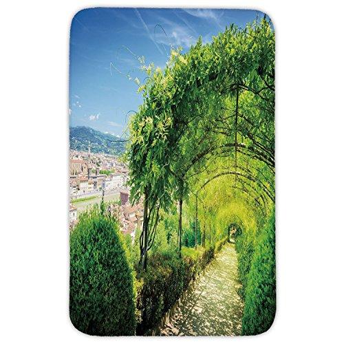 (Rectangular Area Rug Mat Rug,Italian Decor,Boboli Gardens in Florence Italy Famous Natural Landmark Tourist Attraction,Green Blue,Home Decor Mat with Non Slip Backing)