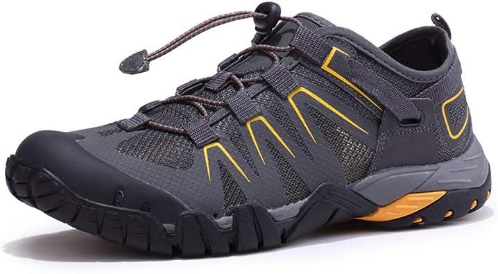 Zapatillas de travesía para Correr a Campo traviesa Zapatillas Antideslizantes para Caminar Zapatos para Hombres Zapatos Transpirables para Viaje al Aire libre-grey-41: Amazon.es: Zapatos y complementos